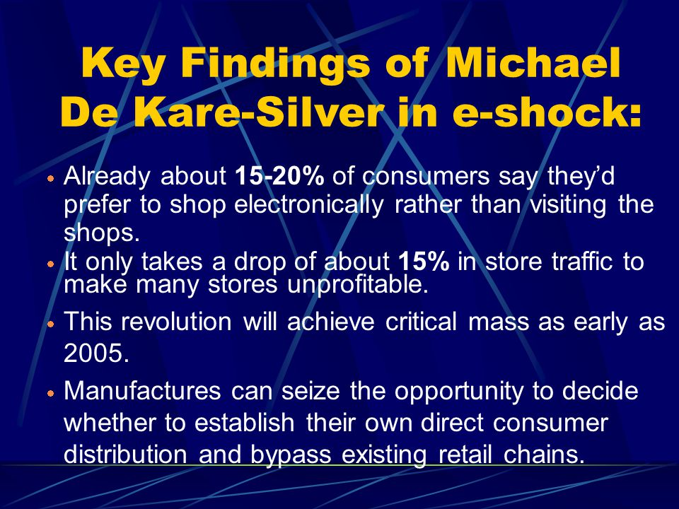 Key Findings of Michael De Kare-Silver in e-shock: Already about 15-20% of consumers say theyd prefer to shop electronically rather than visiting the