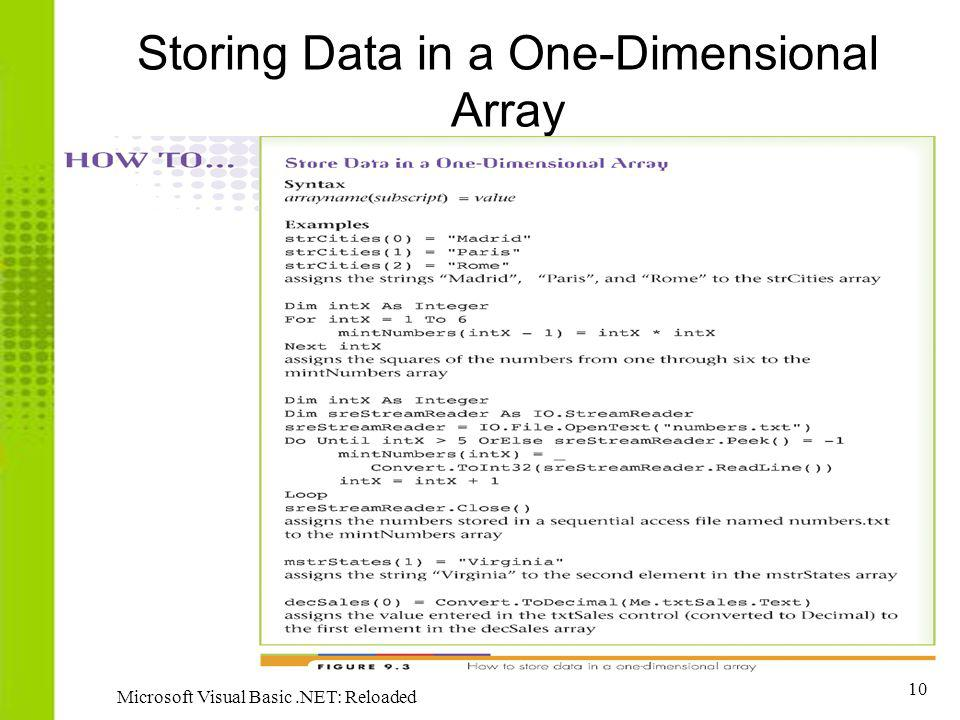 10 Microsoft Visual Basic.NET: Reloaded Storing Data in a One-Dimensional Array