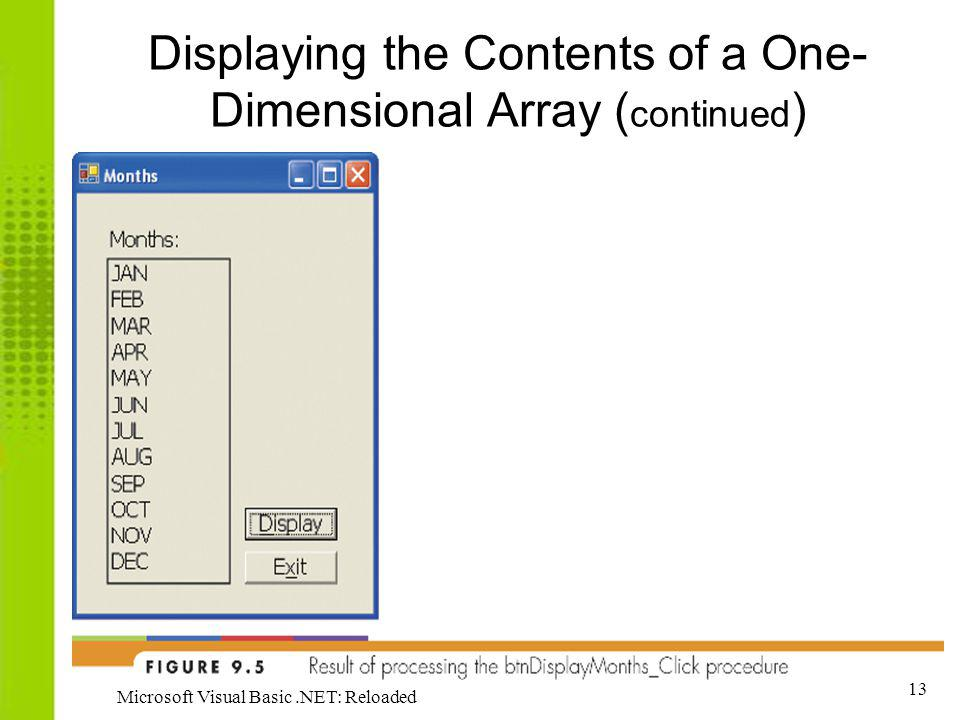 13 Microsoft Visual Basic.NET: Reloaded Displaying the Contents of a One- Dimensional Array ( continued )