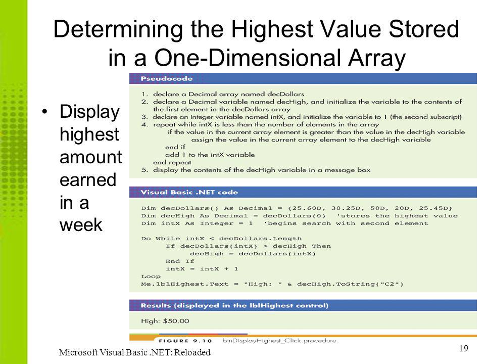 19 Microsoft Visual Basic.NET: Reloaded Determining the Highest Value Stored in a One-Dimensional Array Display highest amount earned in a week