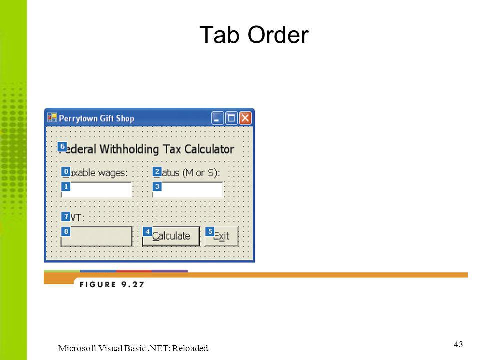 43 Microsoft Visual Basic.NET: Reloaded Tab Order