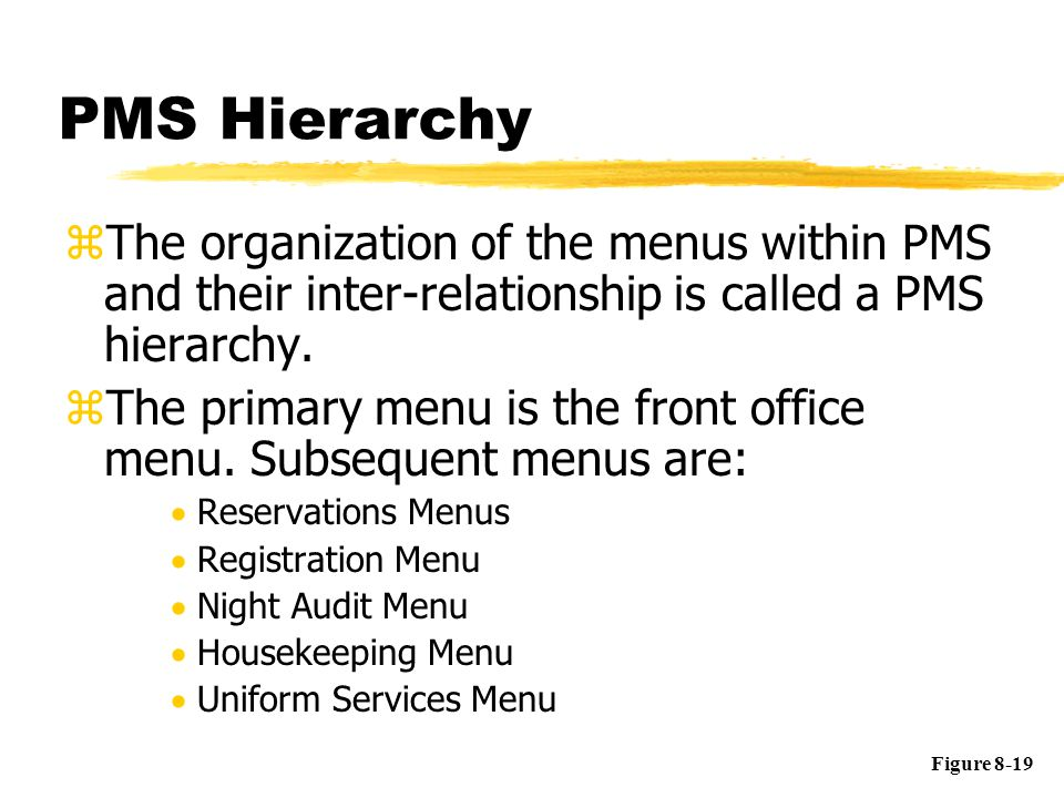 PMS Hierarchy zThe organization of the menus within PMS and their inter-relationship is called a PMS hierarchy. zThe primary menu is the front office