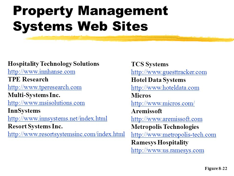 Property Management Systems Web Sites Hospitality Technology Solutions http://www.innhanse.com TPE Research http://www.tperesearch.com Multi-Systems I