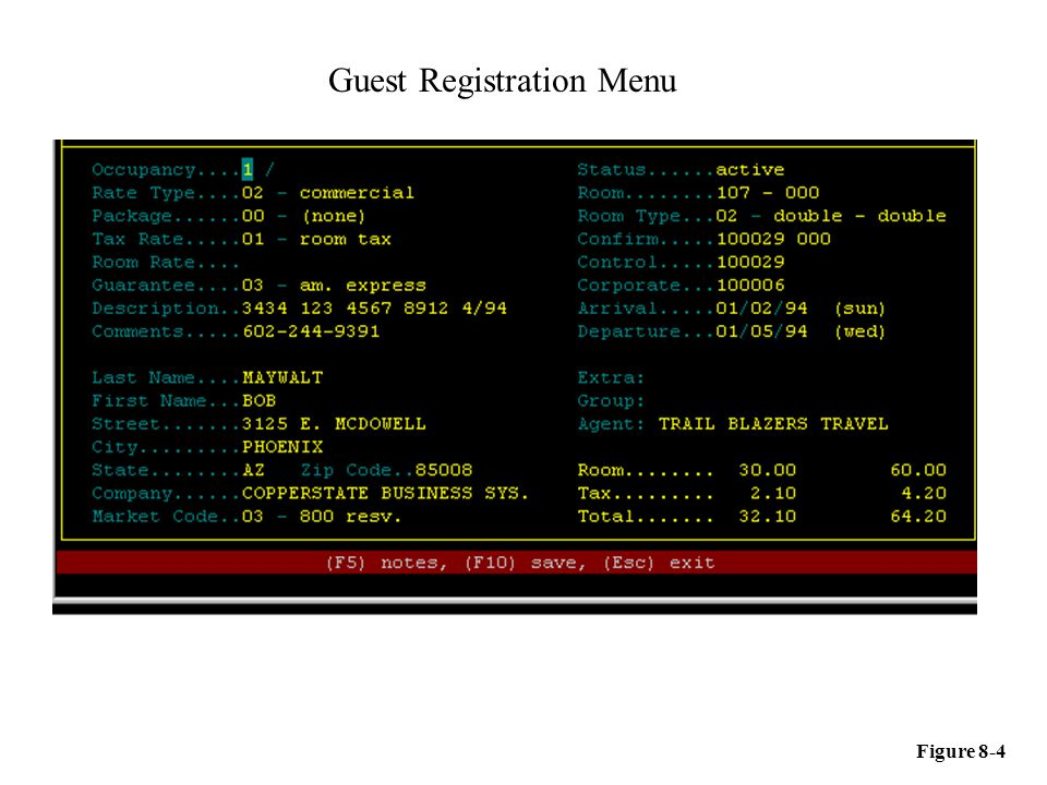 Guest Registration Menu Figure 8-4
