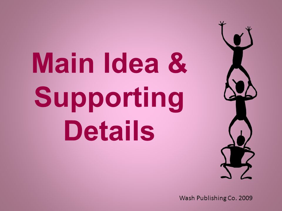 Main Idea & Supporting Details Wash Publishing Co. 2009