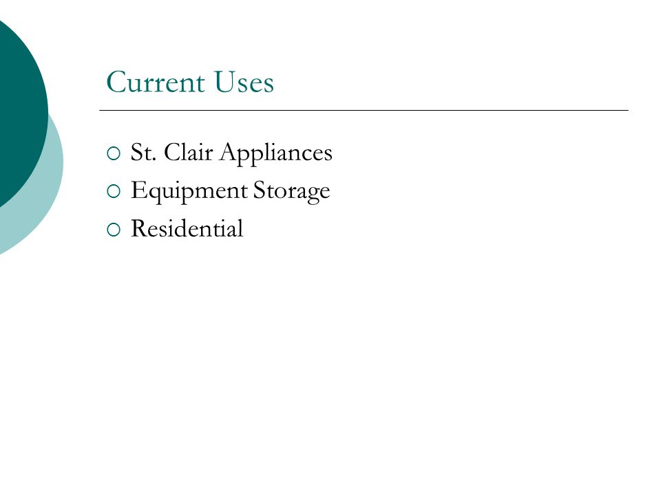 Current Uses St. Clair Appliances Equipment Storage Residential