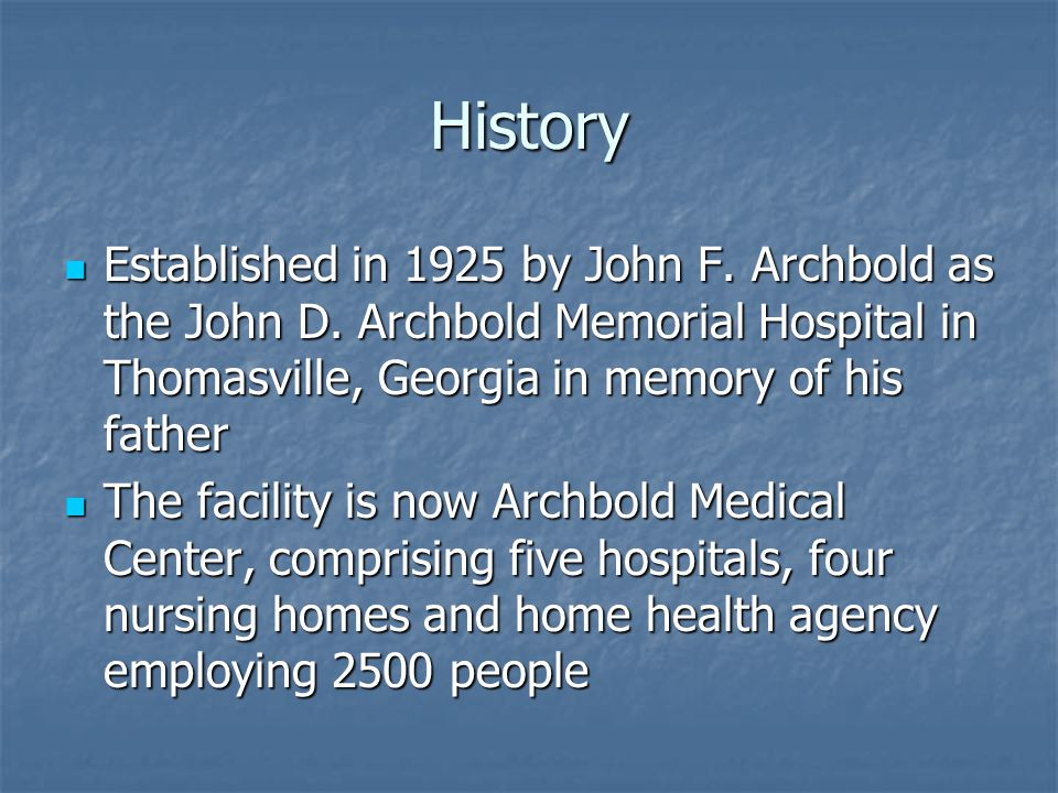 History Established in 1925 by John F. Archbold as the John D.