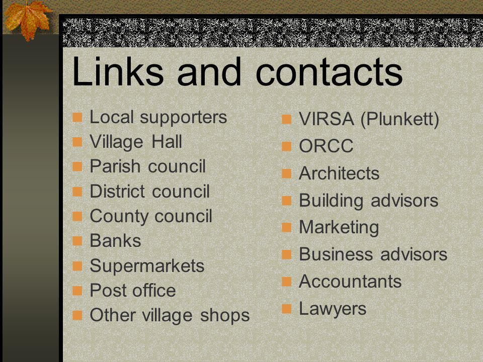 Links and contacts Local supporters Village Hall Parish council District council County council Banks Supermarkets Post office Other village shops VIRSA (Plunkett) ORCC Architects Building advisors Marketing Business advisors Accountants Lawyers