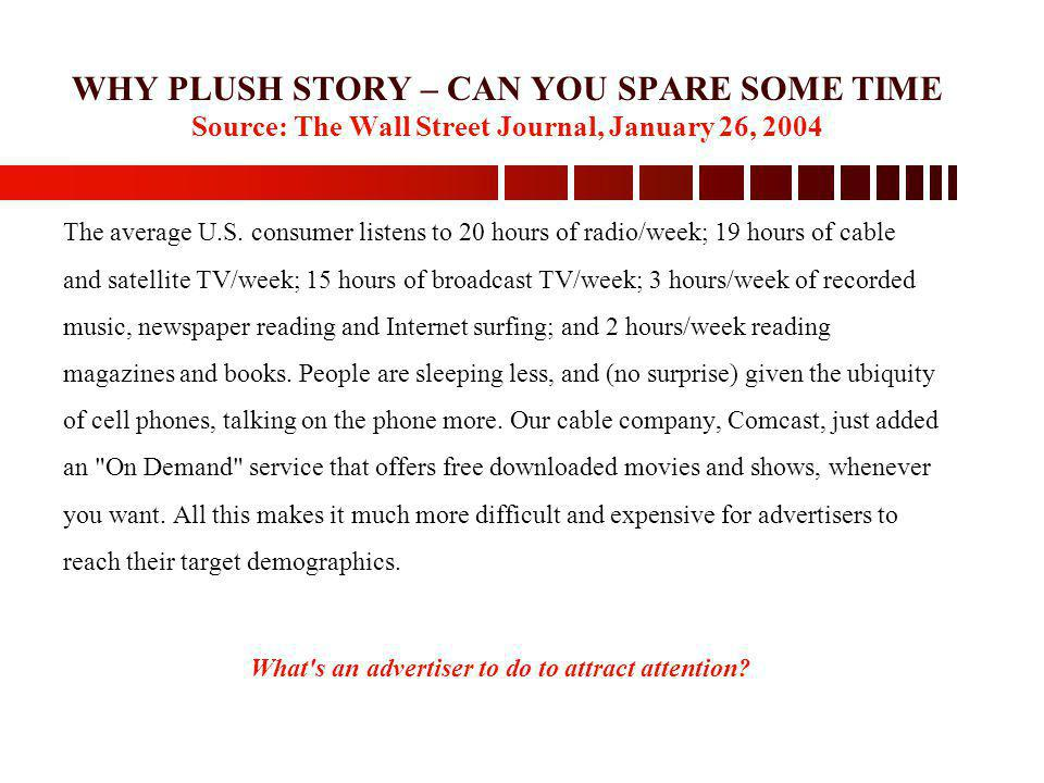 WHY PLUSH STORY – CAN YOU SPARE SOME TIME Source: The Wall Street Journal, January 26, 2004 The average U.S. consumer listens to 20 hours of radio/wee