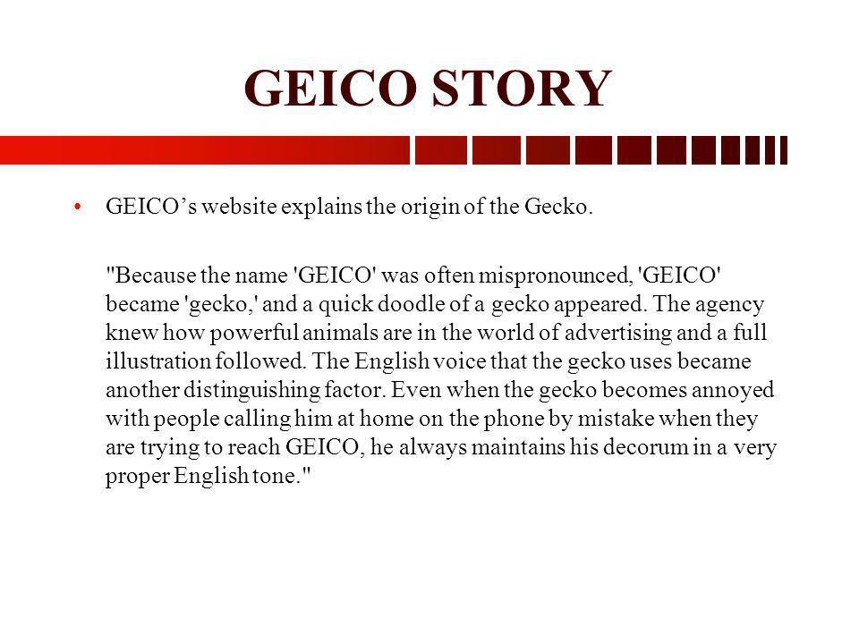 GEICO STORY GEICOs website explains the origin of the Gecko.