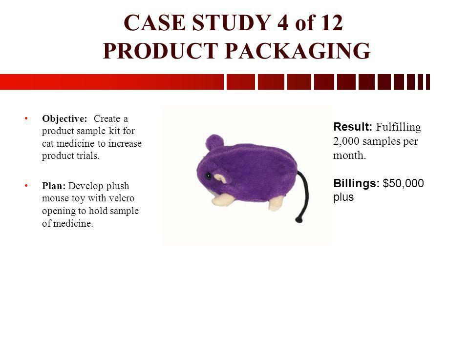 CASE STUDY 4 of 12 PRODUCT PACKAGING Objective: Create a product sample kit for cat medicine to increase product trials. Plan: Develop plush mouse toy