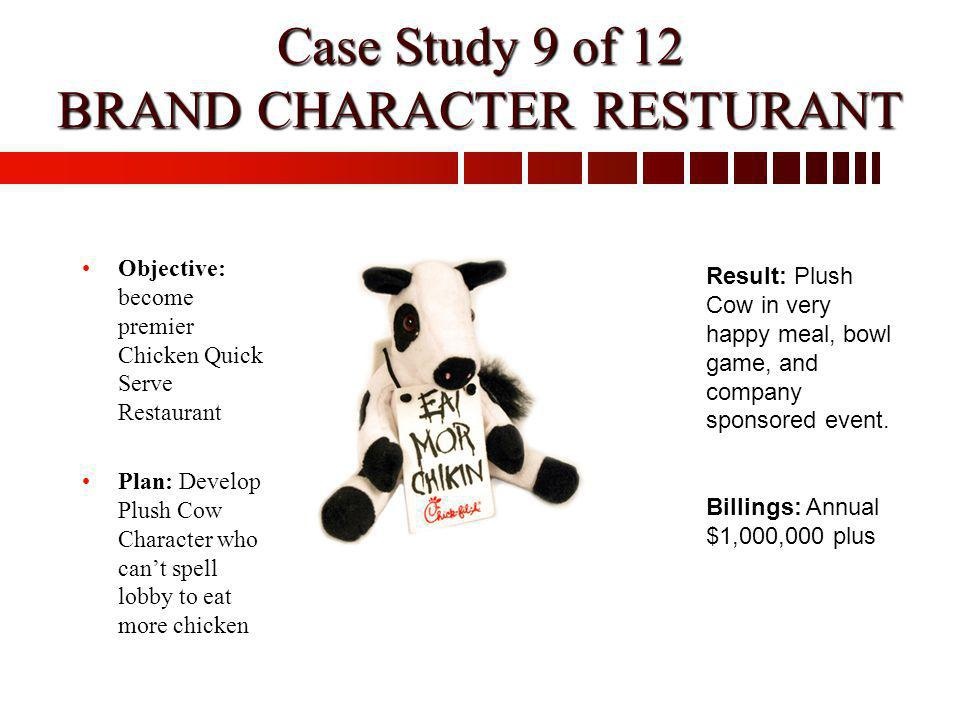 Case Study 9 of 12 BRAND CHARACTER RESTURANT Objective: become premier Chicken Quick Serve Restaurant Plan: Develop Plush Cow Character who cant spell