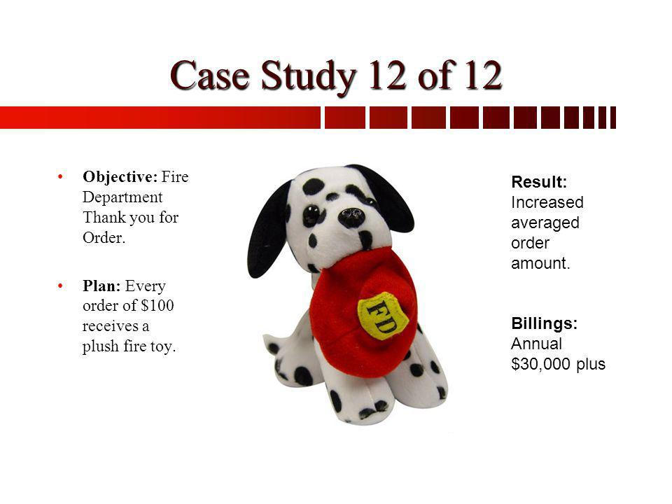 Objective: Fire Department Thank you for Order. Plan: Every order of $100 receives a plush fire toy. Result: Increased averaged order amount. Billings