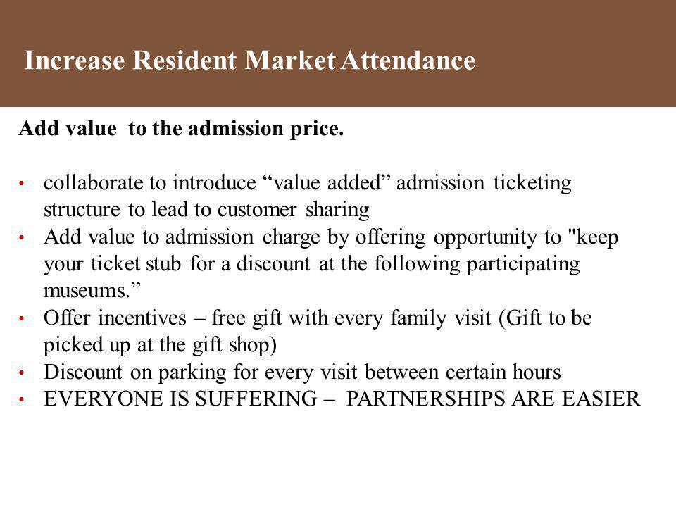 Add value to the admission price. collaborate to introduce value added admission ticketing structure to lead to customer sharing Add value to admissio
