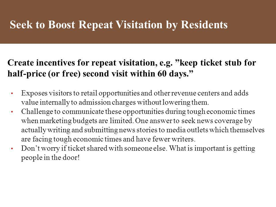 Create incentives for repeat visitation, e.g. keep ticket stub for half-price (or free) second visit within 60 days. Exposes visitors to retail opport