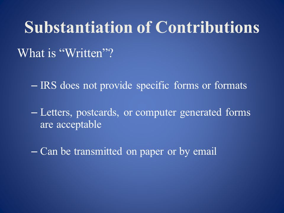 Substantiation of Contributions What is Written.