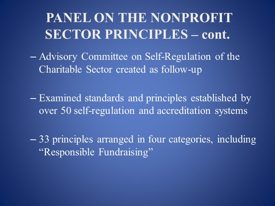 PANEL ON THE NONPROFIT SECTOR PRINCIPLES – cont.