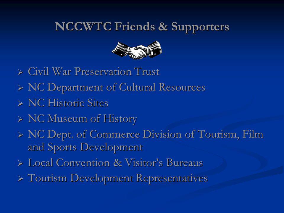 NCCWTC Friends & Supporters Civil War Preservation Trust Civil War Preservation Trust NC Department of Cultural Resources NC Department of Cultural Resources NC Historic Sites NC Historic Sites NC Museum of History NC Museum of History NC Dept.