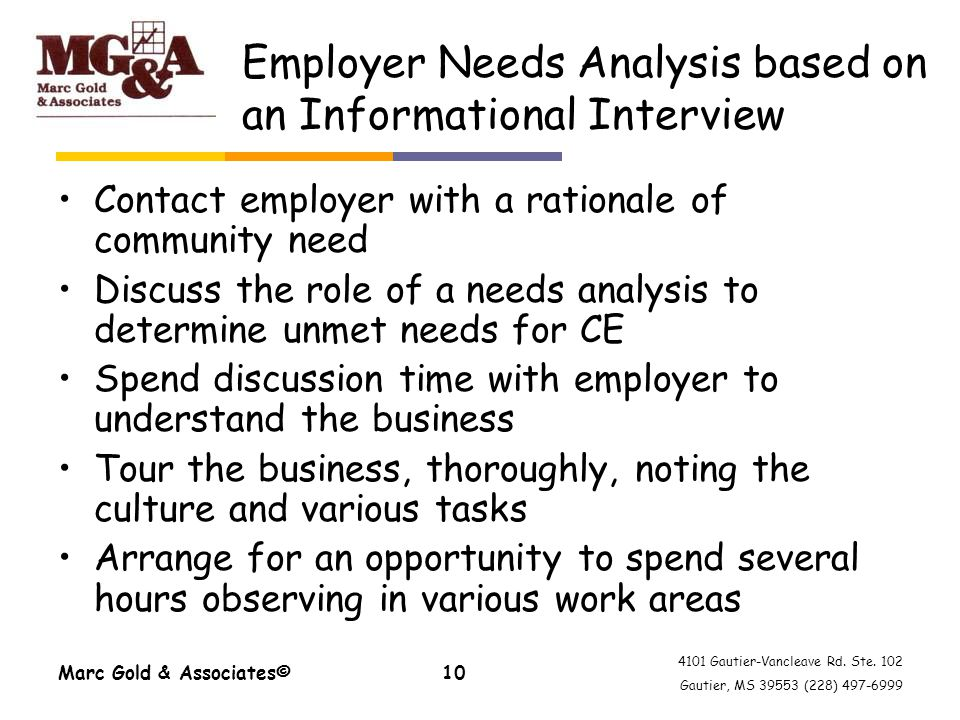 4101 Gautier-Vancleave Rd. Ste. 102 Gautier, MS 39553 (228) 497-6999 Marc Gold & Associates©10 Employer Needs Analysis based on an Informational Inter