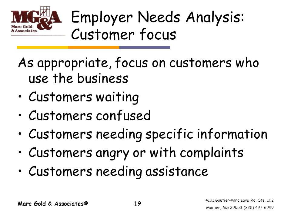 4101 Gautier-Vancleave Rd. Ste. 102 Gautier, MS 39553 (228) 497-6999 Employer Needs Analysis: Customer focus As appropriate, focus on customers who us