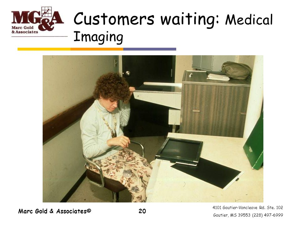 4101 Gautier-Vancleave Rd. Ste. 102 Gautier, MS 39553 (228) 497-6999 Marc Gold & Associates©20 Customers waiting: Medical Imaging