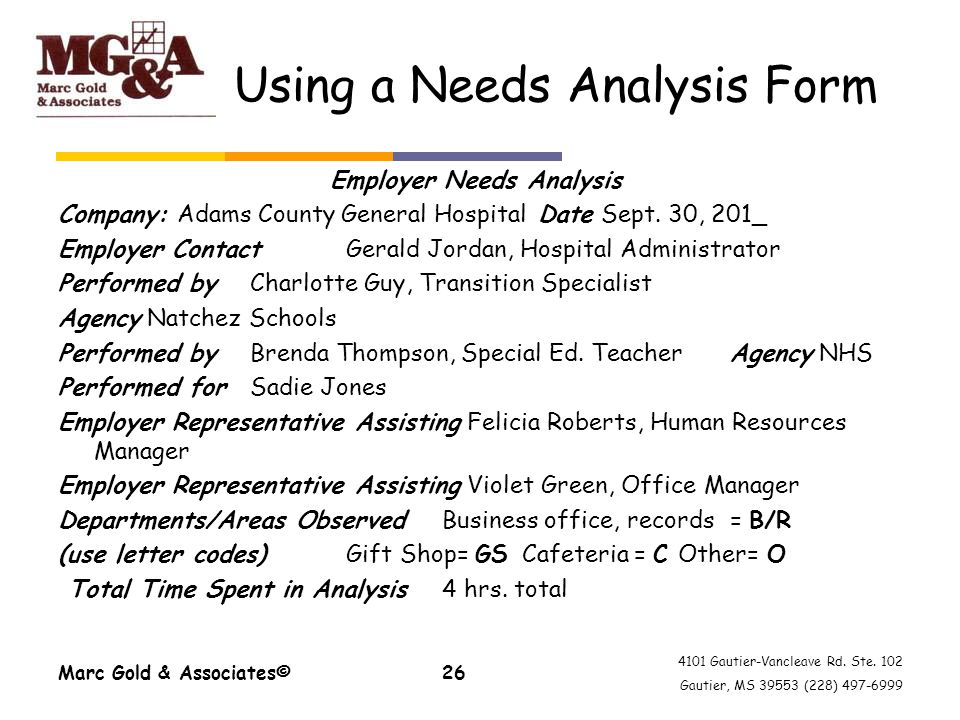 4101 Gautier-Vancleave Rd. Ste. 102 Gautier, MS 39553 (228) 497-6999 Using a Needs Analysis Form Employer Needs Analysis Company: Adams County General