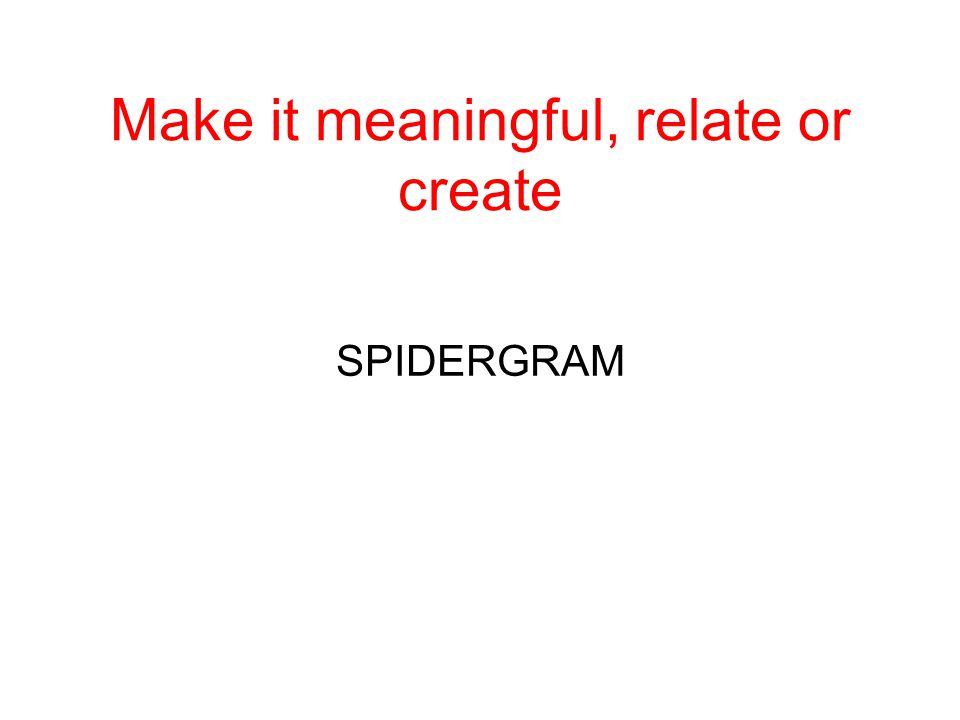 Make it meaningful, relate or create SPIDERGRAM