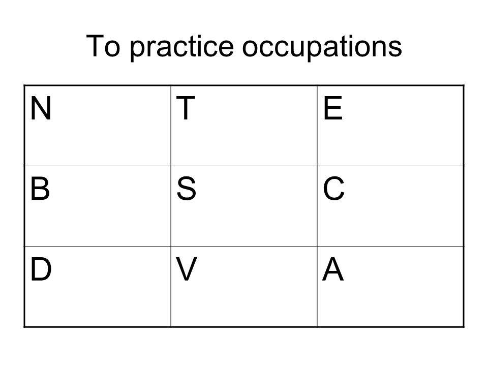 To practice occupations NTE BSC DVA
