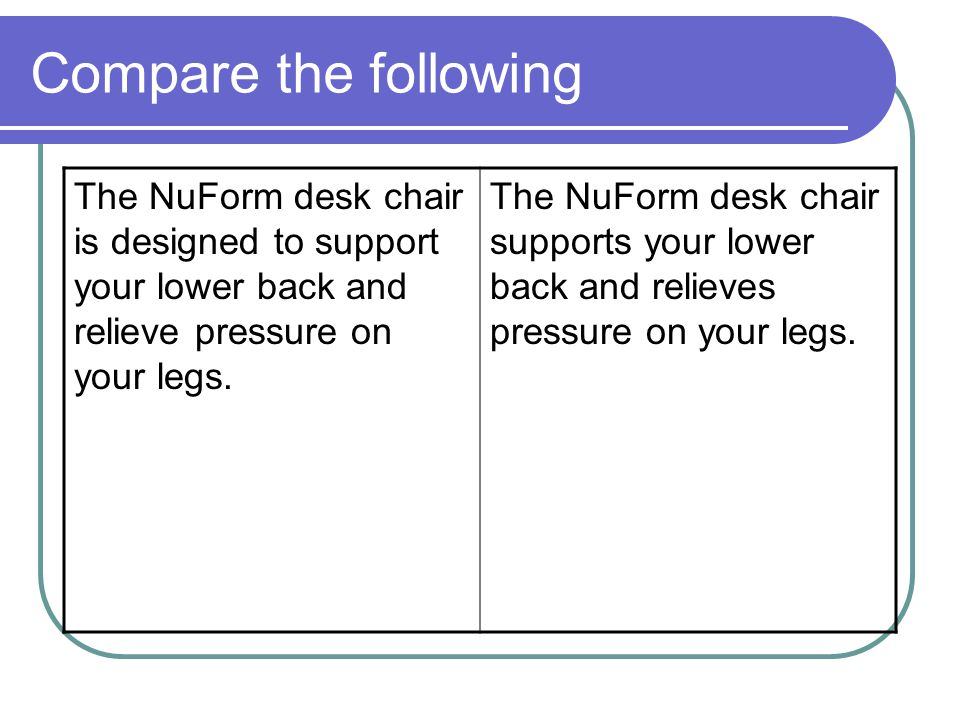 Compare the following The NuForm desk chair is designed to support your lower back and relieve pressure on your legs. The NuForm desk chair supports y