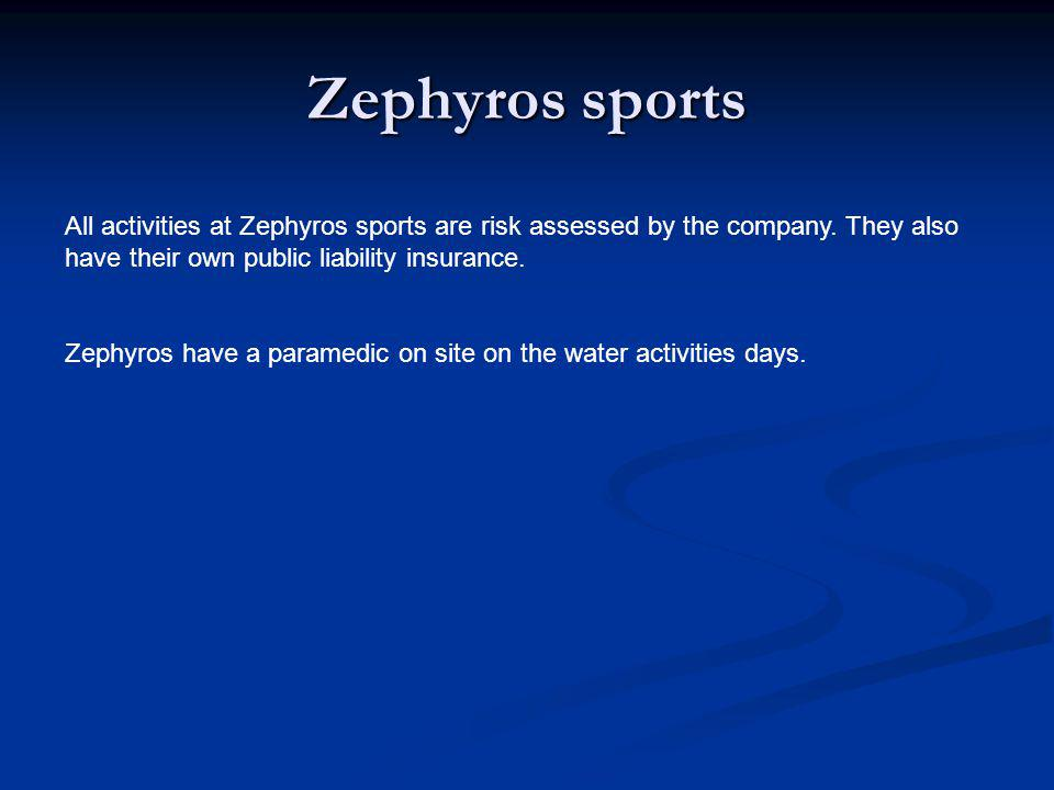 Zephyros sports All activities at Zephyros sports are risk assessed by the company.
