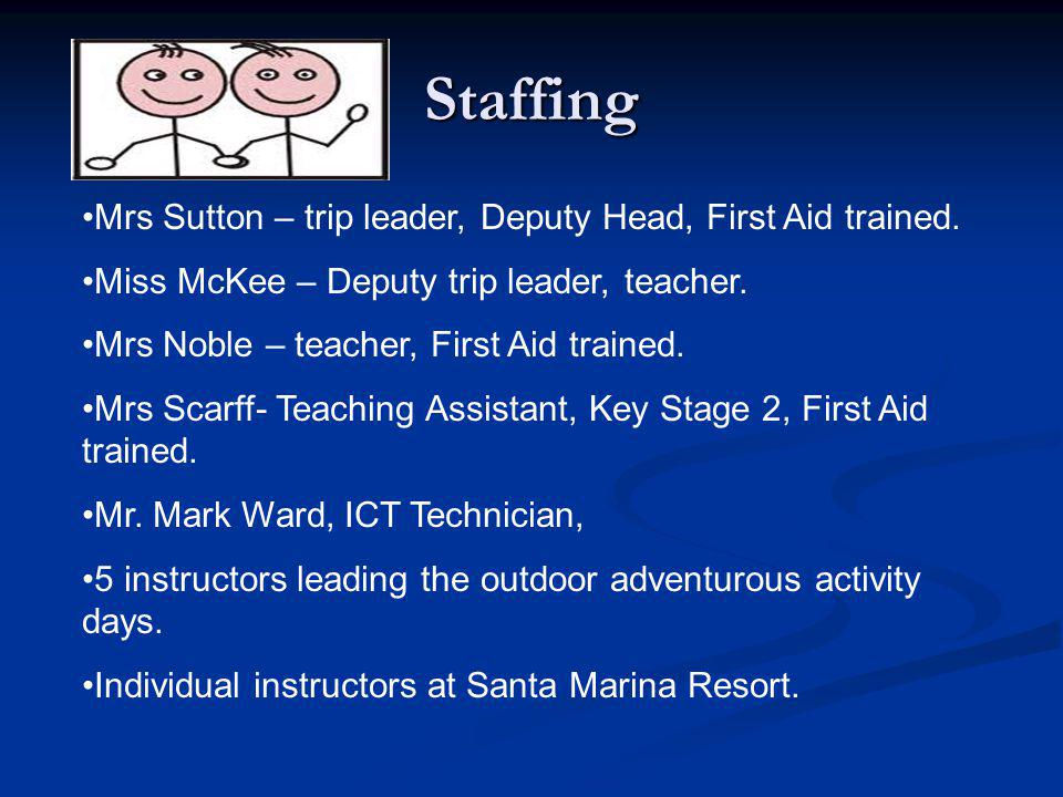 Staffing Mrs Sutton – trip leader, Deputy Head, First Aid trained.