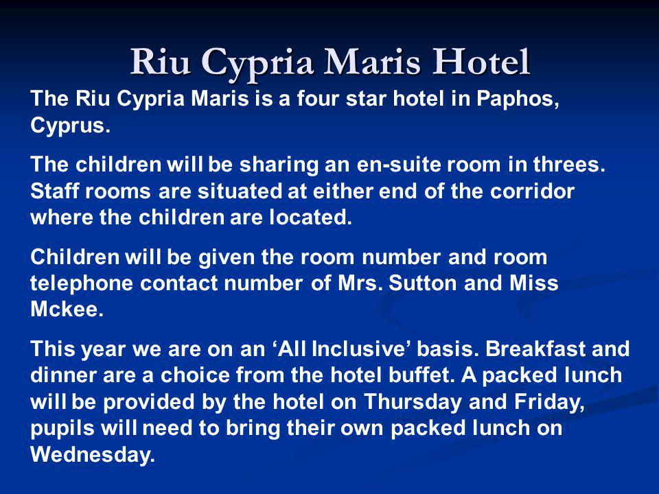 Riu Cypria Maris Hotel The Riu Cypria Maris is a four star hotel in Paphos, Cyprus.