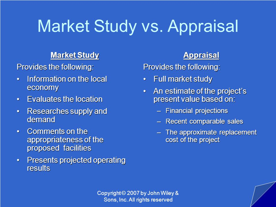 Copyright © 2007 by John Wiley & Sons, Inc. All rights reserved Market Study vs.
