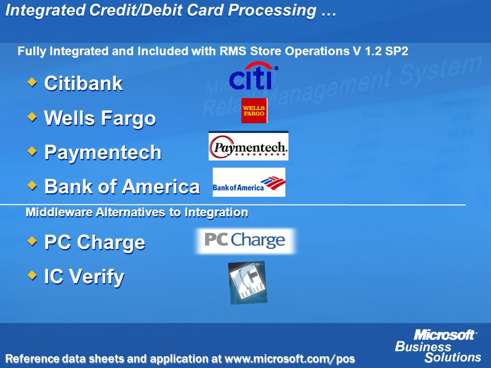Integrated Credit/Debit Card Processing … Citibank Wells Fargo Paymentech Bank of America Middleware Alternatives to Integration PC Charge IC Verify C