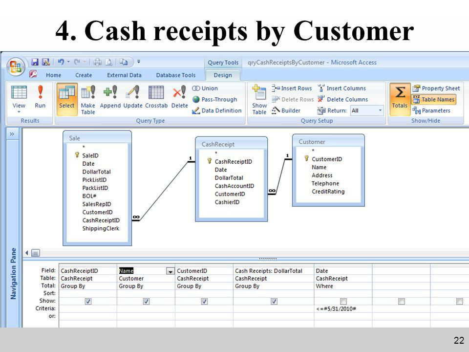4. Cash receipts by Customer 22