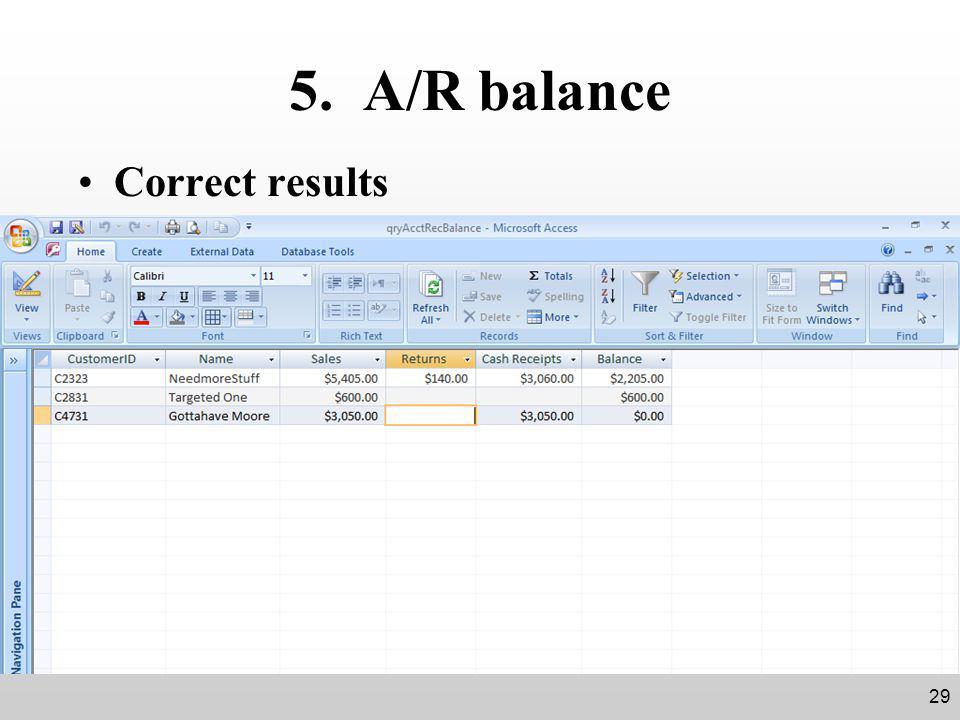 5. A/R balance Correct results 29