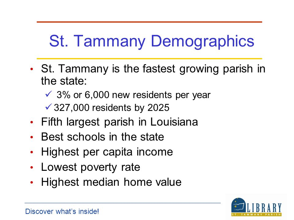 Discover whats inside. St. Tammany Demographics St.