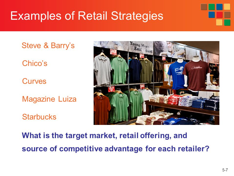 5-48 Competitive Factors Barriers to entry Scale economies of big box retailers Service and unique, high-end products of small retailers Bargaining power of vendors Markets are less attractive when only a few vendors control the merchandise sold in it Competitive rivalry Defines the frequency and intensity of reactions to actions undertaken by competitors Conditions leading to intense rivalry: a large number of same size retailers, slow growth, high fixed costs, a lack of perceived differences between competing retailers