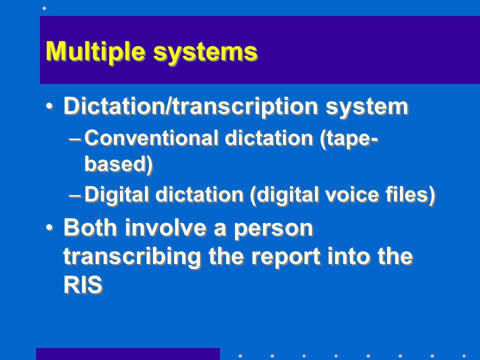 Multiple systems Dictation/transcription system –Conventional dictation (tape- based) –Digital dictation (digital voice files) Both involve a person t