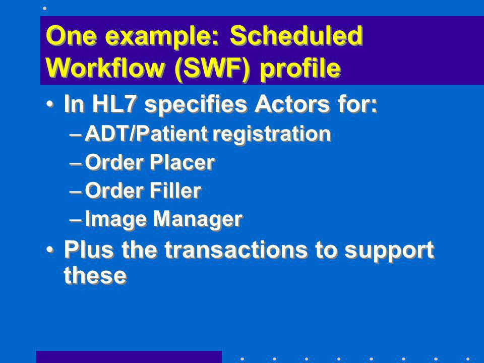 One example: Scheduled Workflow (SWF) profile In HL7 specifies Actors for: –ADT/Patient registration –Order Placer –Order Filler –Image Manager Plus t