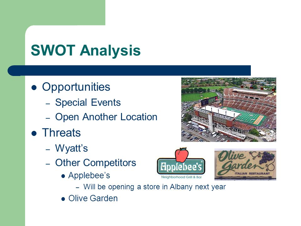 SWOT Analysis Opportunities – Special Events – Open Another Location Threats – Wyatts – Other Competitors Applebees – Will be opening a store in Alban