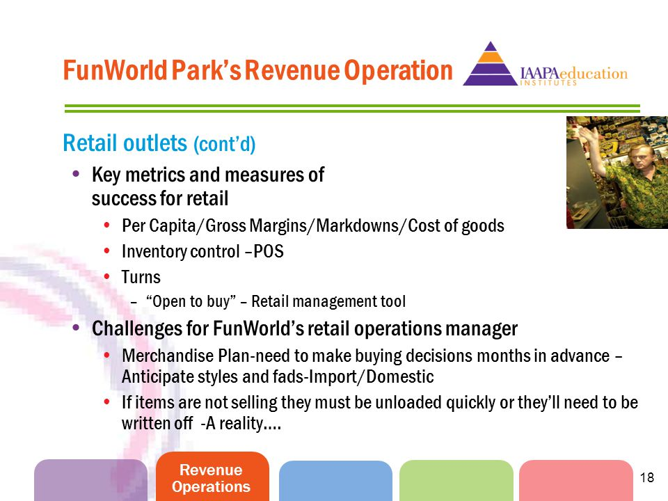 Revenue Operations 18 FunWorld Parks Revenue Operation Retail outlets (contd) Key metrics and measures of success for retail Per Capita/Gross Margins/