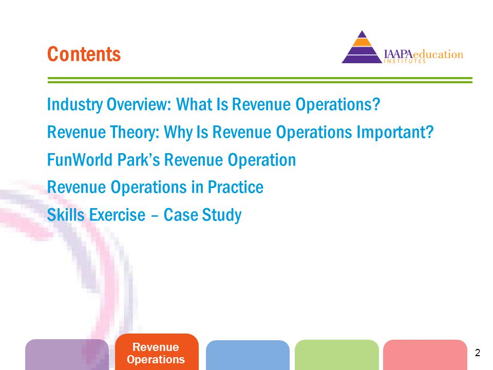 2 Contents Industry Overview: What Is Revenue Operations? Revenue Theory: Why Is Revenue Operations Important? FunWorld Parks Revenue Operation Revenu