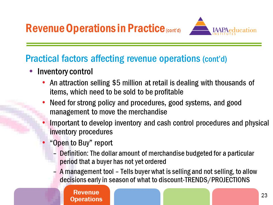 Revenue Operations 23 Practical factors affecting revenue operations (contd) Inventory control An attraction selling $5 million at retail is dealing w