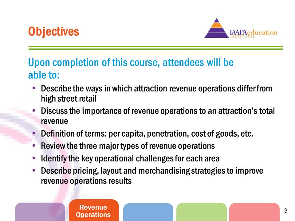 Revenue Operations 3 Objectives Upon completion of this course, attendees will be able to: Describe the ways in which attraction revenue operations differ from high street retail Discuss the importance of revenue operations to an attractions total revenue Definition of terms: per capita, penetration, cost of goods, etc.