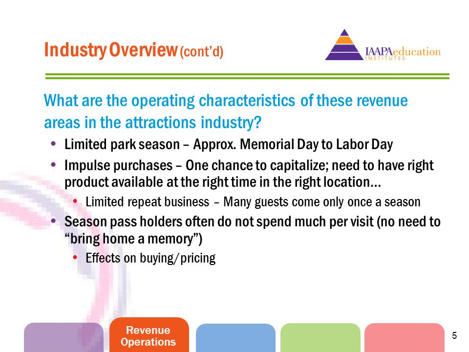 Revenue Operations 5 Industry Overview (contd) What are the operating characteristics of these revenue areas in the attractions industry? Limited park
