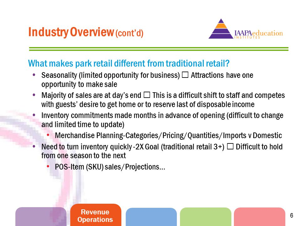 Revenue Operations 6 Industry Overview (contd) What makes park retail different from traditional retail.