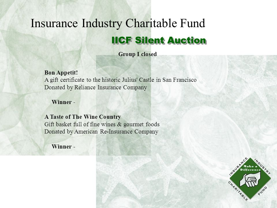 Insurance Industry Charitable Fund IICF Silent Auction Bon Appetit.