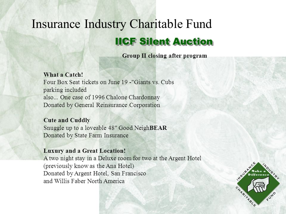 Insurance Industry Charitable Fund IICF Silent Auction What a Catch.