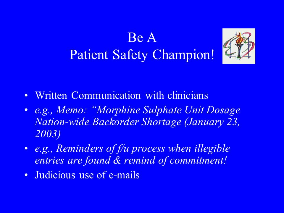 Be A Patient Safety Champion.
